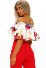 White Floral Frill Bardot Crop Top - Back View