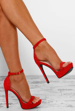Maneater Red Barely There Platform Heels