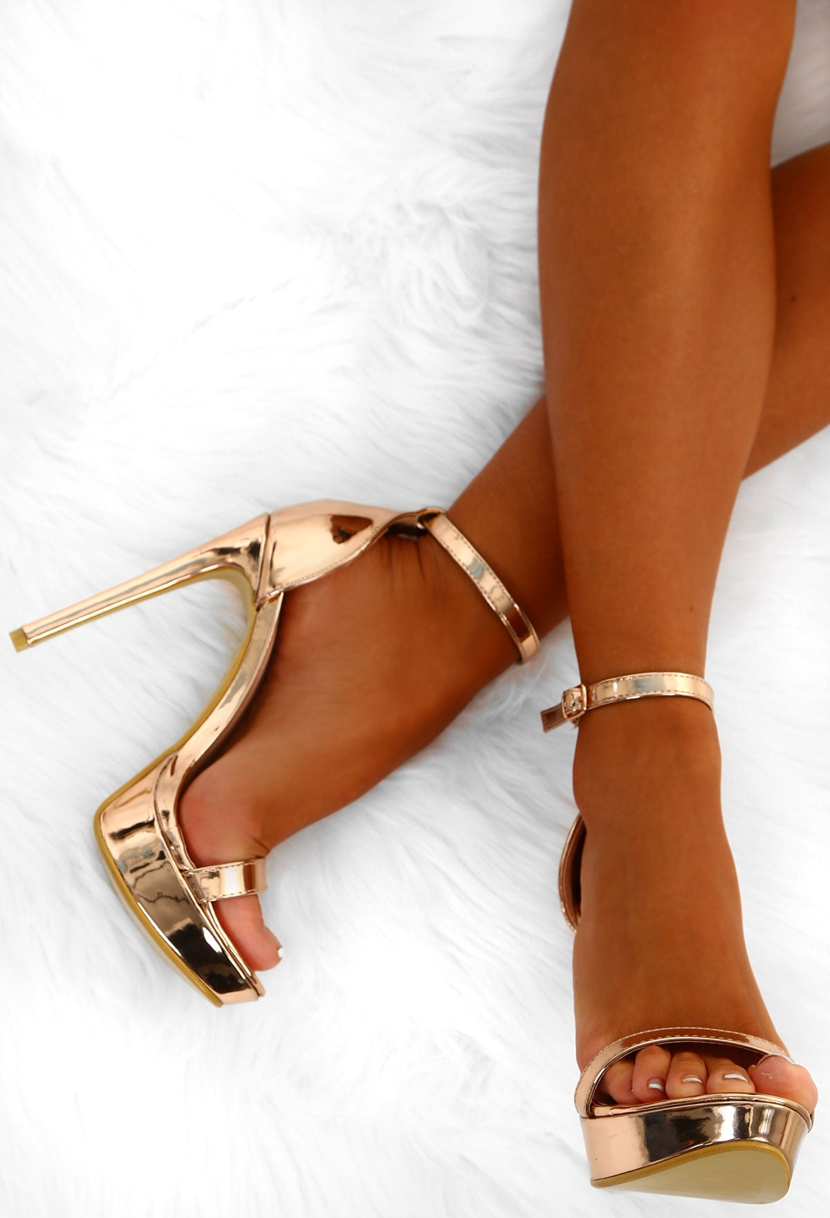 f212e9323c3 Maneater Rose Gold Barely There Platform Heels – Pink Boutique UK