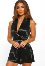 Manhattan Beauty Black Satin Belted Sleeveless Playsuit