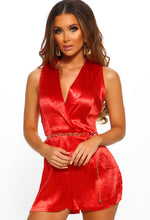 Red Satin Belted Playsuit