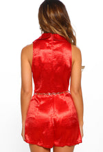 Manhattan Beauty Red Satin Belted Sleeveless Playsuit