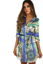 Martinis On My Mind Green Multi Print Satin Shirt Dress