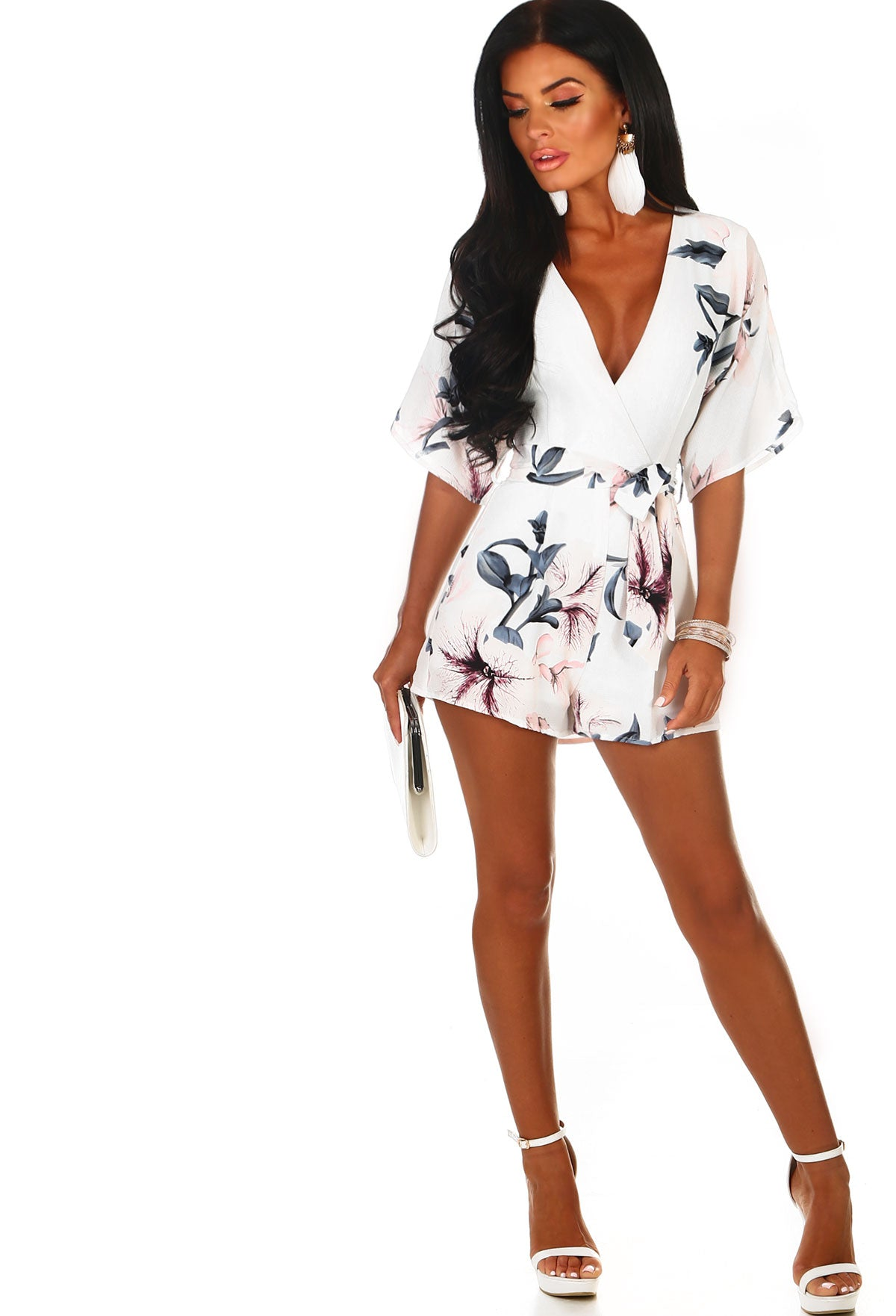 a39f9a533b9 Melrose Beauty White Floral Belted Wrap Playsuit – Pink Boutique UK