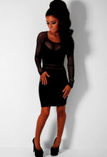 Seduction Black Mesh Panel Bodycon Mini Dress