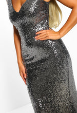Silver Sequin Ombre Dress