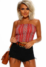 Red Floral Bandeau Top