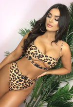 Miami Multi Leopard Print Buckle Detail High Waisted Bikini