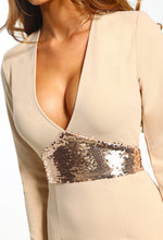 Stone Sequin Long Sleeve Bodycon Mini Dress - Detail Closeup