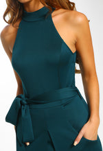 Midnight Chaos Green Split Front Halterneck Midi Dress