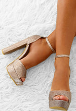 Midnight Fantasy Rose Gold Platform Block Heels