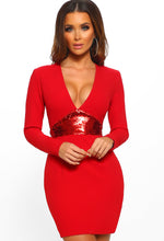 Red Sequin Long Sleeve Bodycon Mini Dress - Front View