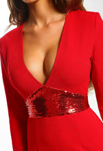 Red Sequin Long Sleeve Bodycon Mini Dress - Detail Closeup