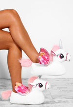 Midnight Treasures Pink and White Unicorn Slippers
