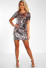 Rose Gold Sequin Shift Dress - Full Front View