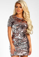 Rose Gold Sequin Shift Dress - Front View