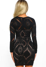 Misbehaving Black Lace Long Sleeve Mini Dress