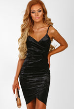 Black Velvet Wrap Midi Dress - Front View