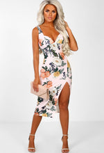 Miss Dynamic Pink Multi Floral Side Split Midi Dress