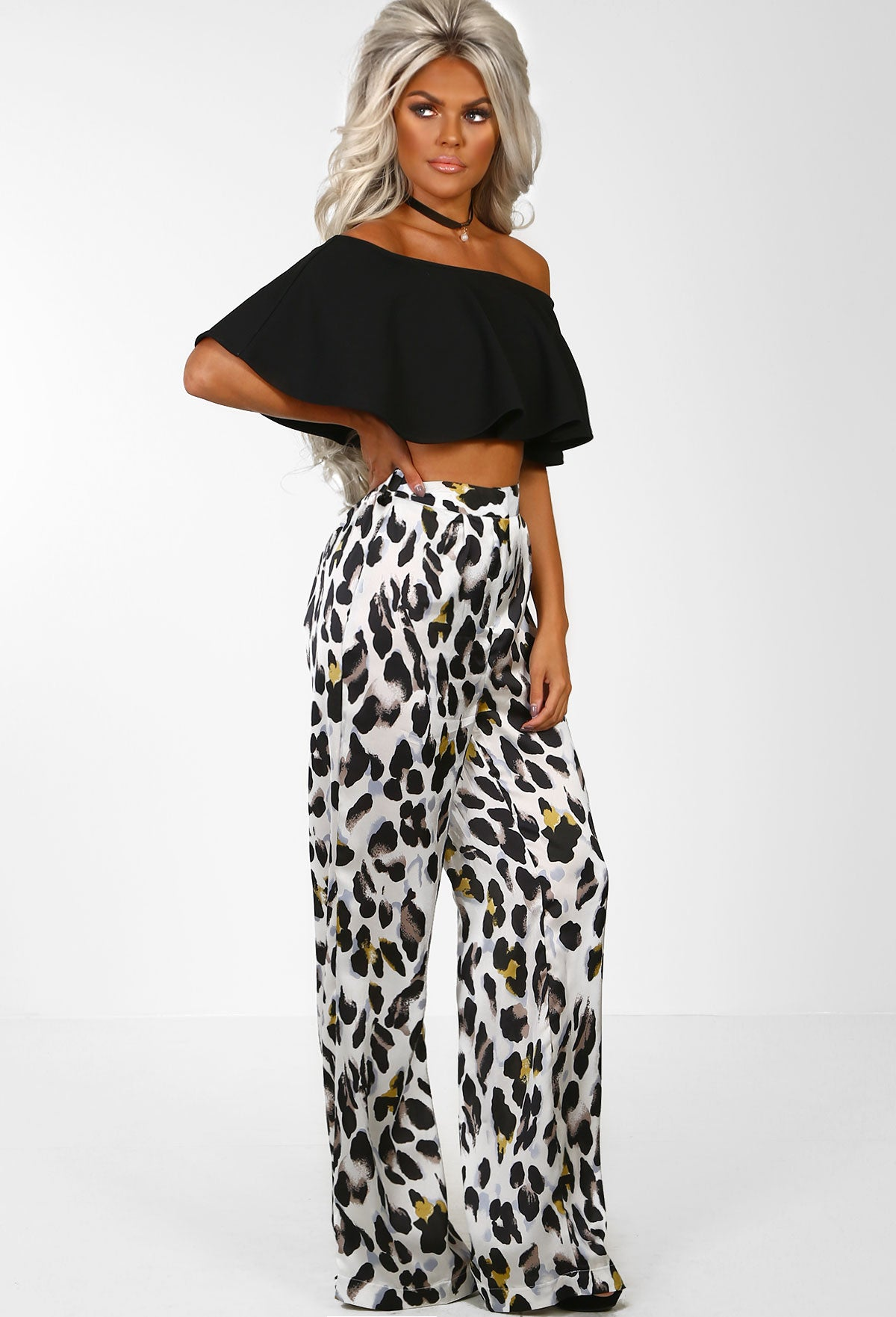 78eccacaebbd Miss Majestic White Leopard Print Flare Trousers – Pink Boutique UK