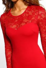 Red Lace Long Sleeve Bodycon Midi Dress - Detail Closeup