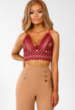Burgundy And Nude Crochet Bralet