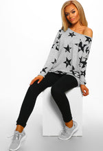 Grey Star Print Oversized Top - front View