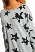 Grey Star Print Oversized Top - Close up View