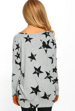 Grey Star Print Oversized Top - Back View