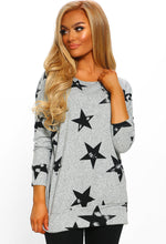 Grey Star Print Oversized Top