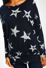 Navy Star Print Oversized Top - close up view