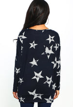 Navy Star Print Oversized Top - Back View