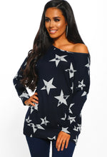 Navy Star Print Oversized Top
