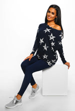 Navy Star Print Oversized Top - Front View