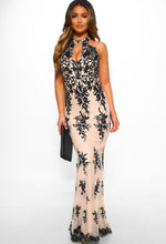 Nude Sequin Halterneck Maxi Dress
