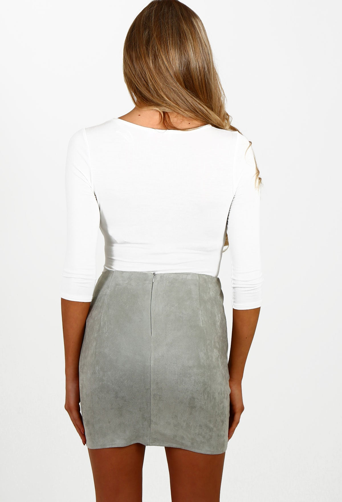 4d45885b3b6 Mixed Messages Grey Faux Suede Mini Skirt – Pink Boutique UK
