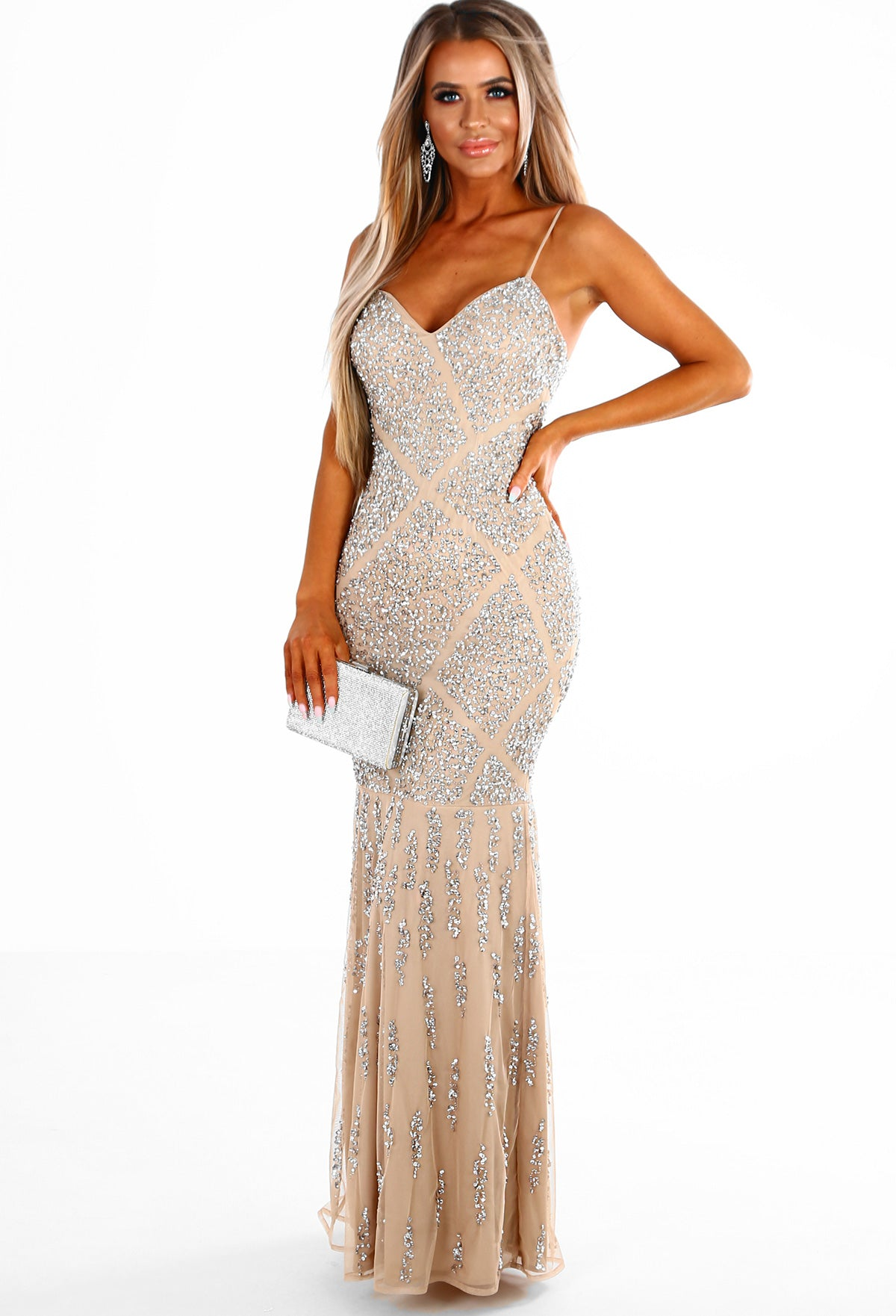803dd9c9 PREMIUM Modern Beauty Nude and Silver Embellished Fishtail Maxi Dress