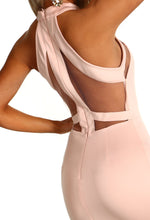 Pink Mesh Bodycon Midi Dress - Cut Out Detail Close up