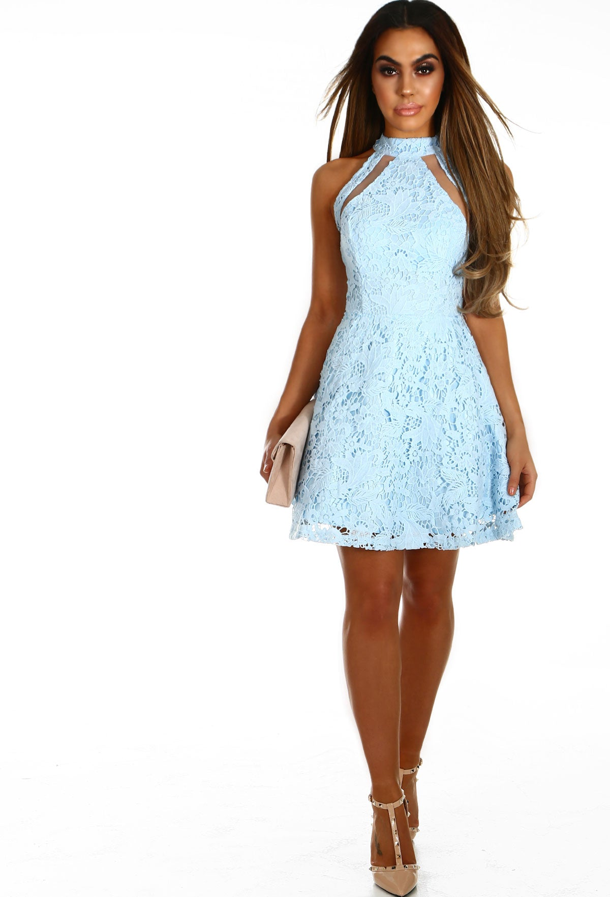 More Than Friends Baby Blue Crochet Skater Dress Pink Boutique Uk