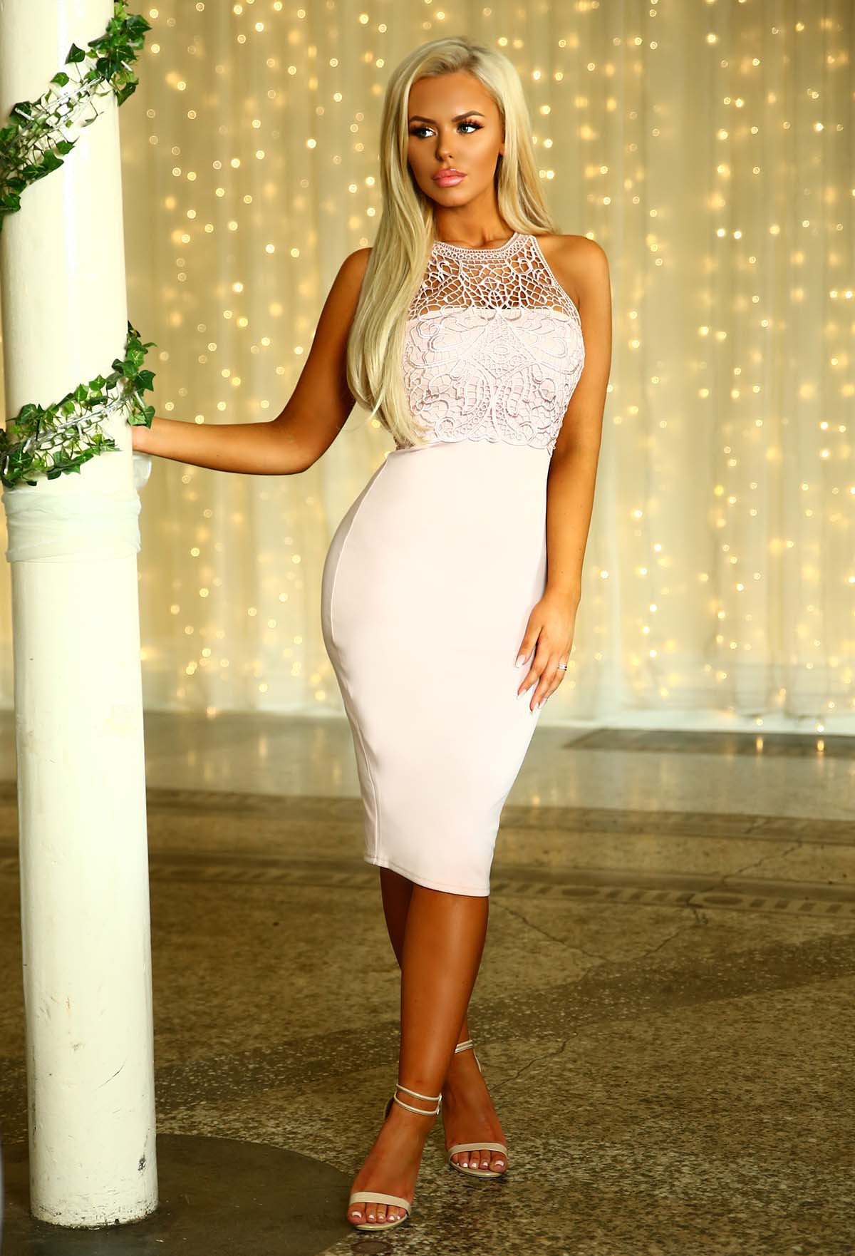 cef8f29356b Most Wanted Pink Crochet Bodycon Midi Dress – Pink Boutique UK