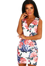 White Floral Ruched Wrap Mini Dress - Front View