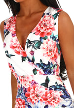 White Floral Ruched Wrap Mini Dress - Detail Closeup
