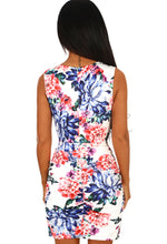 White Floral Ruched Wrap Mini Dress - Back View