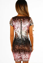 My Addiction Multi Sequin Plunge Mini Dress