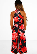 My Cherie Black And Red Floral Culotte Jumpsuit