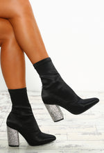 Naked Lunch Black Diamante Block Heel Sock Boots