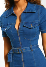 Nashville Mid Blue Denim Belted Playsuit