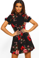 Black Floral Print Frill Detail Mini Dress - Front View