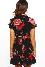 Nataleigh Black Floral Print Frill Detail Mini Dress