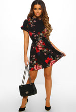 Black Floral Print Frill Detail Mini Dress - Full Front View with Accessory